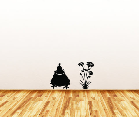 "WALL - Frog Rider with Flowers - Wall or Door Vinyl Decal - Copyright © Yadda-Yadda Design Co. (Frog - 11""w x 14.5""h 