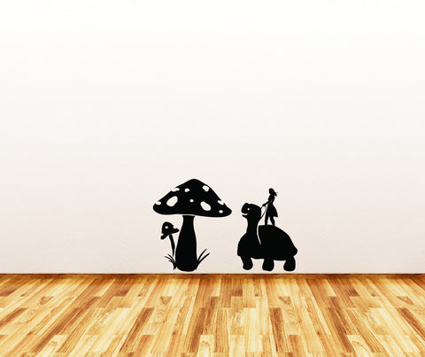 "WALL - Turtle Rider with Mushrooms - Wall or Door Vinyl Decal - Copyright © Yadda-Yadda Design Co. (Turtle - 9""w x 12.5""h 