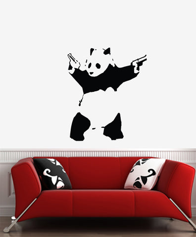 "WALL - Shooting Panda - Wall Vinyl Decal (22""w x 26""h) (Color Choices)"