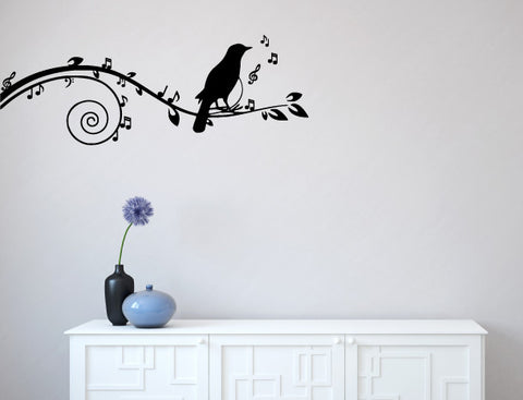 "WALL - Songbird on Musical Branch - Wall Decal - (60""w x 22""h) (BLACK)"