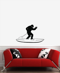 "WALL - Surfin' Sasquatch Stand Up Paddleboard SUP - Bigfoot - Yeti - Vinyl Wall Decal - © YYDC (33""w X 21""h) (BLACK)"