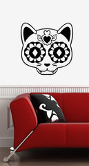 WALL - Sugar Skull Cat - Day of the Dead - Día de los Muertos - Wall Vinyl Decal -/ 2016 YYDC (Size and Color Choices)