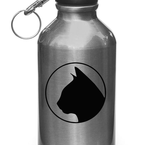 "WB -  Cat Silhouette in Circle - Water Bottle | Sporting Equipment Vinyl Decal - Copyright 2014 © YYDC (3""diam.)(Color Choices)"