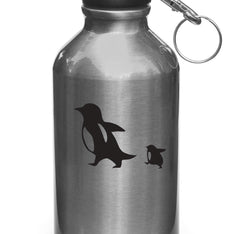 "WB - Penguin Mom and Baby - Design 1 - Vinyl Decal for Water Bottles - ©YYDC (3""w x 2""h)(BLACK)"