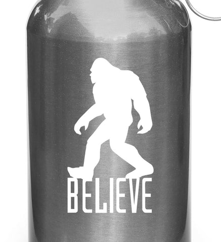 "WB - Sasquatch - Bigfoot - BELIEVE - D1 - Vinyl Decal for Reusable Water Bottle (SM 1.75""""w x 3""h) (Color Choices Available)"