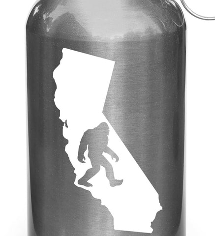 "WB - Sasquatch in California - Bigfoot -Vinyl Decal for Reusable Water Bottle (SM 2.25""w x 4""h)(COLOR CHOICES)"