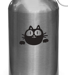 "WB -  Chubby Cat Smiling - Vinyl Reusable Water Bottle Decal - Copyright 2014 © YYDC (3""w x 2""h)(Color Choices)"