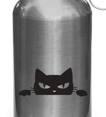 "WB -  Angry Cat Peeking Out  - Water Bottle | Sporting Equipment Vinyl Decal - Copyright 2014 © YYDC (3.5""w x 1.5""h)(Color Choices)"