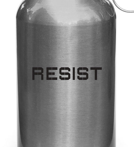 "WB - RESIST - Vinyl Reusable Water Bottle Decal Sticker - © YYDC (4.5""w x 1""h)(COLOR CHOICES)"
