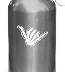 "WB - Skeleton Hand SHAKA - Water Bottle Vinyl Decal Sticker (3.5""w x 2.25""h) © YYDC (WHITE)"
