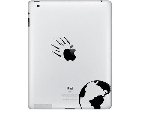 iPAD - Apple Asteroid - iPad Decal - Tablet Decal - iPad Mini Decal - (2 pieces)(BLACK)