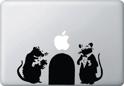 "MB - Fancy Rats - Banksy Style Vinyl Laptop Decal (9""w x 4.5""h) (BLACK)"