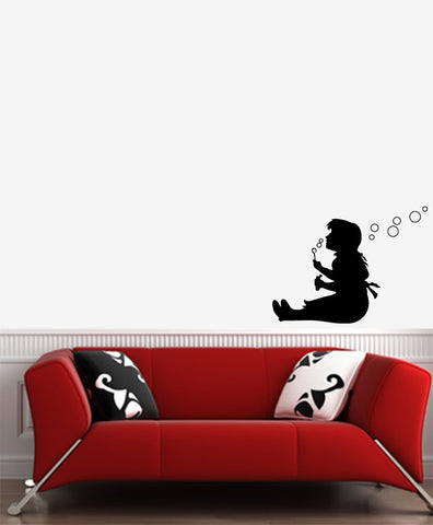 "WALL - Girl Blowing Bubbles - Wall Vinyl Decal (22""w x 16.5""h) (Color Choices)"