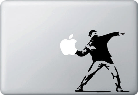 "MB - The Molotov Guy Throwing Apple - Vinyl Macbook Decal (5""w x 6""h)(BLACK)"