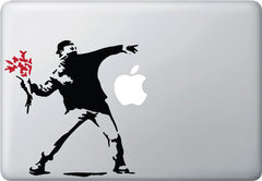 MB - The Molotov Guy with Flowers - Vinyl Laptop or Macbook Decal (BLACK w RED flowers)