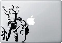 "MB - Banksy Style Girl Frisking Soldier - Laptop | Indoor Use Vinyl Decal - (6""w x 8""h) (BLACK)"