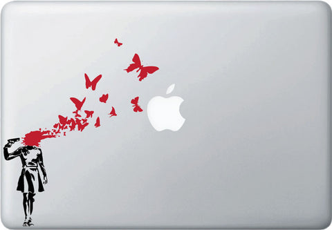 MB - Banksy Style - Suicide Butterflies Laptop Decal - (BLACK w RED)