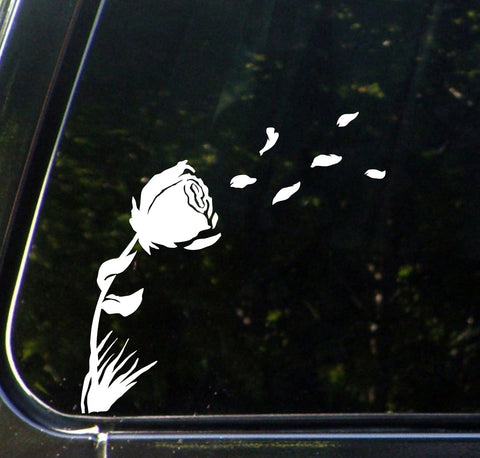 "CAR - Rose in the Wind - Car Vinyl Decal Sticker - ©YYDC (7.5""w x 7""h) (Color Choices)"
