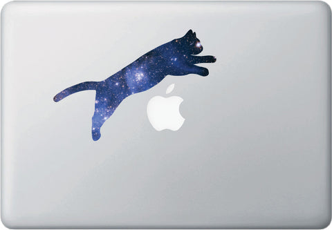 CLR:MB - Cosmic Cat Jumping - Star Cat Galaxy - D1 - Vinyl Macbook Laptop Trackpad Decal © YYDC. (Size Variations Available)