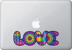 "CLR:MB - LOVE Rainbow Text -D1-  Vinyl Macbook Laptop Decal - © YYDC (8""w x 2.5""h) (Color Choices)"