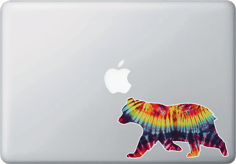 CLR:MB - Rainbow Tie Dye Bear - Design 2 - Macbook Laptop Trackpad Vinyl Decal Sticker © YYDC (Size Variations Available)