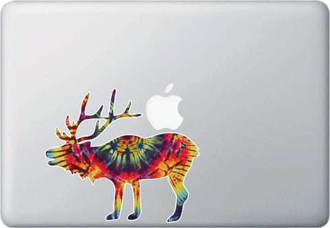 CLR:MB - Rainbow Tie Dye Elk - Vinyl Macbook Laptop Trackpad Decal Sticker © YYDC (Size Variations Available)