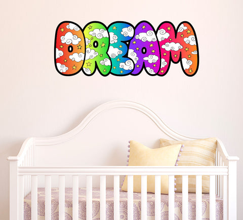 DREAM Color Clouds Text - Contour Cut and Printed Wall Vinyl Decal © YYDC (Size Choices)( Black Outline)