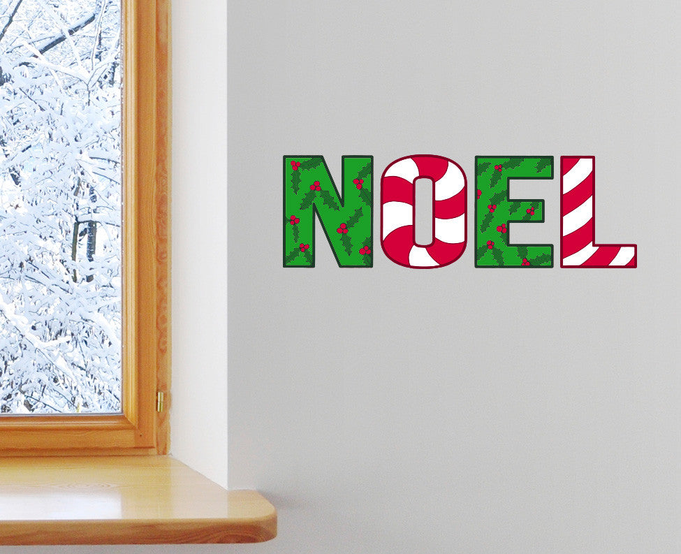 clr noel christmas text multicolor vinyl decal yydc size background choices - Noel Christmas Store