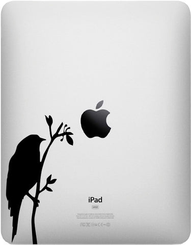 "IPAD - Bird on Branch - D2 - iPad - Vinyl Decal Sticker - ©YYDC (2.5""w x 5""h) (BLACK)"