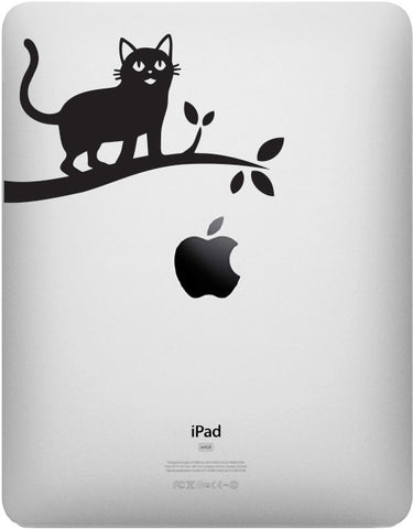 "IPAD - Cat on Branch - iPAD or Tablet Vinyl Decal Sticker - ©YYDC (5""w x 3""h) (BLACK)"