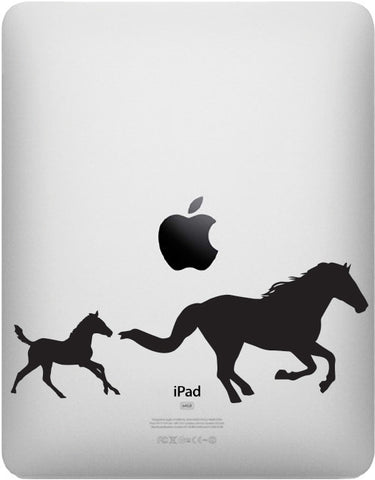 "iPAD - Horse Mom & Baby Foal - iPAD Tablet Vinyl Decal - © YYDC (7""w x 2.75""h) (Color Choices)"