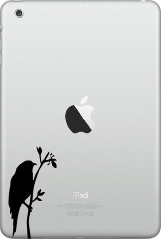 "IPAD-M - Bird on Branch - D2 - iPad MINI - Vinyl Decal Sticker - ©YYDC (1.5""w x 3""h) (Color Choices)"