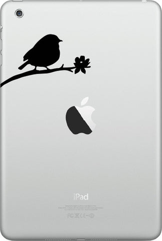 "IPAD-M - Bird on Branch - D3 - iPad MINI - Vinyl Decal Sticker - ©YYDC (3""w x 1.75""h) (BLACK)"
