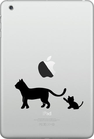 "IPAD-M - Cat Mom & Kitten Playing w Tail - D1 - iPAD MINI Decal - ©YYDC (4""w x 1.75""h) (BLACK)"