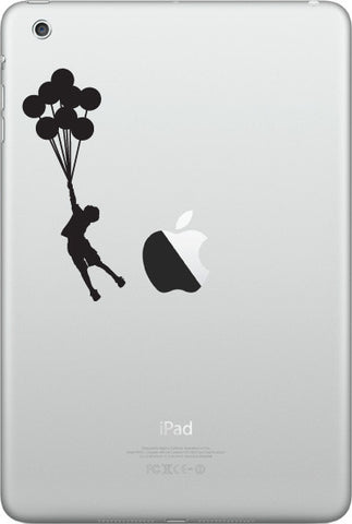 "IPAD-M - Flying Balloon Boy - iPad MINI Vinyl Decal Sticker (1.5""w x 3.5""h) (BLACK or WHITE)"
