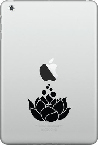 "IPAD-M - Lotus Flower D2 - iPAD MINI Vinyl Decal - ©YYDC (2.25""w x 2""h) (Color Choices)"