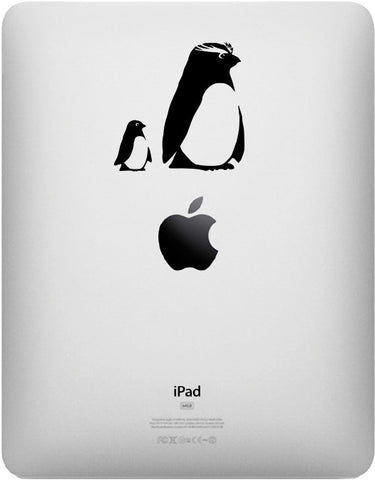 "IPAD - Penguin Mom & Baby - D2 - iPAD Tablet Vinyl Decal - ©YYDC (2.5""w x 2.5""h) (BLACK)"