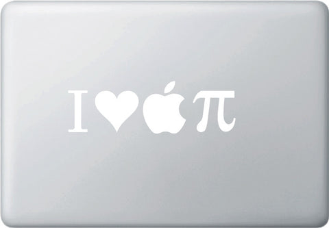 "MB - I Heart Apple PI - Vinyl Laptop or Macbook Decal (6.75""w x 2""h) (WHITE)"