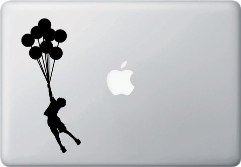 "MB - Flying Balloon Boy - Macbook or Laptop Vinyl Decal Sticker (3""w x 7.25""h) (BLACK)"