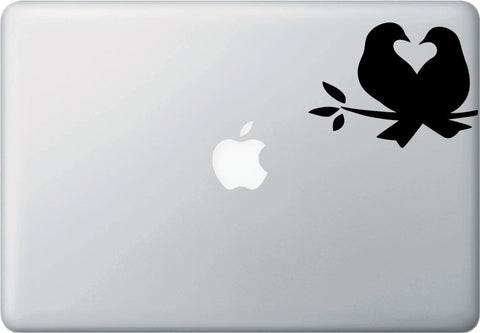 "MB -  Lovebirds - Bird Pair - Heart - Nest  - Vinyl Macbook Laptop Decal - Copyright 2014 © YYDC (4.5""w x 3.5""h)(Color Choices)"