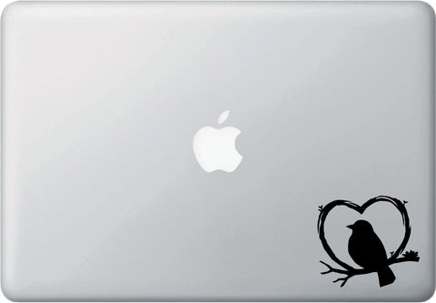 "MB - Bird Standing in Heart Branch - Laptop Decal - ©YYDC (3""w x 2.75""h) (BLACK)"