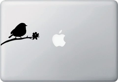 "MB - Bird on Branch - D3 - Macbook or Laptop Decal - © YYDC (4.25""w x 2.5""h) (BLACK)"