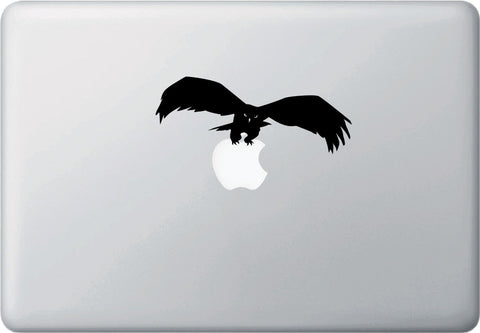 "MB - Bird of Prey Catching - D1 - Macbook or Laptop Decal - © YYDC (5.25""w x 2""h) (BLACK)"