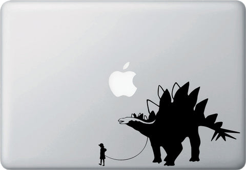 "MB - Dinosaur Pet - Child with Stegosaurus - Laptop Vinyl Decal Sticker - ©YYDC (7.5""w x 4.5""h) (Variations Available)"