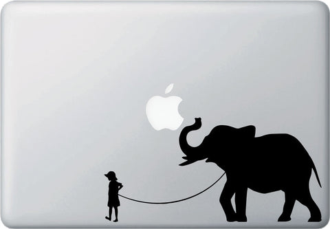 "MB - Pet Elephant - Child with Elephant - Laptop Vinyl Decal Sticker - ©YYDC (8.5""w x 4""h) (Variations Available)"