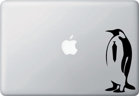 "MB - Business Penguin - Macbook or Laptop Vinyl Decal - ©YYDC (2.75""w x 6""h) (BLACK)"