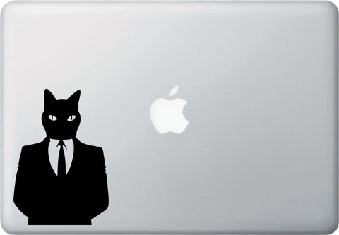 MB -  Business Time Cat  - Vinyl Macbook Laptop Decal - Copyright 2014 © YYDC (Size and Color Choices)