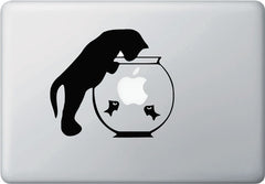 "MB - Cat and Fishbowl - Vinyl Laptop or Macbook Decal (6""w x 5.25""h) (BLACK)"