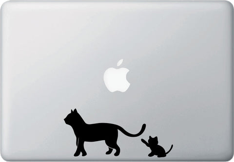 "MB - Cat Mom & Kitten Playing - D1 - Macbook Laptop Decal - © YYDC (6""w x 2.75""h) (BLACK)"