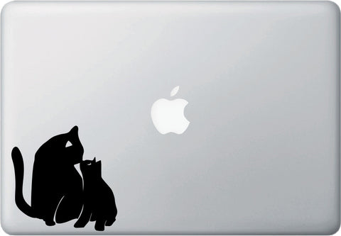 "MB - Cat Mom and Kitten Kiss - D2 - Macbook Laptop Decal - © YYDC (4""w x 4""h) (BLACK or WHITE)"